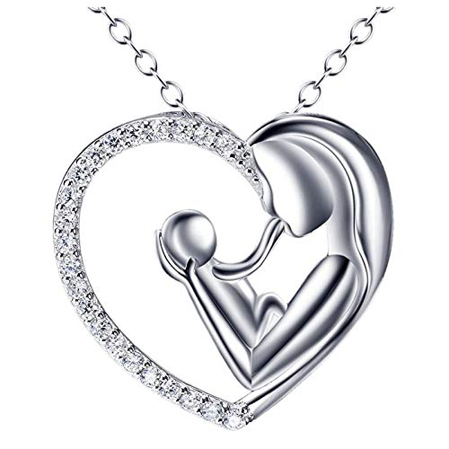Geschenke für Mama Herzförmige Halskette Tochter Liebe Herz Halskette Anhänger
