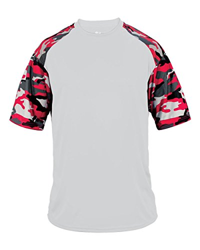 (Blank Front/Back White/Red Camo Adult Large Sleeve Wicking Jersey Uniform Shirt)