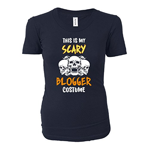 [This Is My Scary Blogger Costume Halloween Gift - Ladies T-shirt Navy Ladies L] (Fashion Bloggers Halloween Costumes)