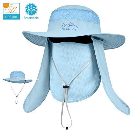 LCZTN Outdoor Sun Cap for Men & Women Breathable Wide Brim Fishing Hat UPF 50+ UV Protection with Removable Face & Neck Flap for Backpacking Hiking Travel Camping Gardening & Boating(Light Blue)