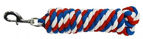 American Red White and Blue Cotton Lead Rope 10' w/ silver Snap