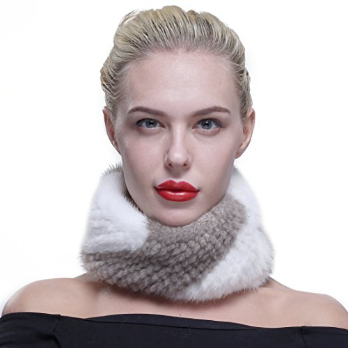 URSFUR Winter Mink Scarf Fur Cowl Women Headband White & Beige