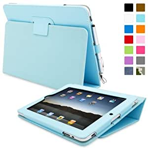 iPad 1 Case, Snugg™ - Cover with Kick Stand & Lifetime Guarantee (Baby Blue Leather) for Apple iPad 1