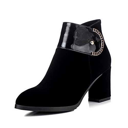 AmoonyFashion Womens Frosted Zipper Pointed Closed Toe High Heels Low Top Boots Black