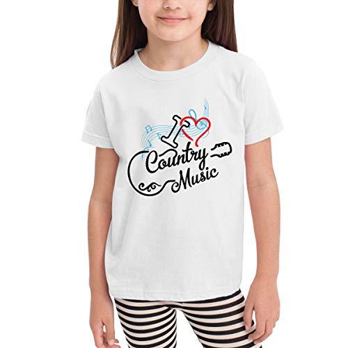 Unisex Baby I Love Country Music O Neck Toddler's Short Sleeve T Shirt for 2-6 Boys Girls White]()