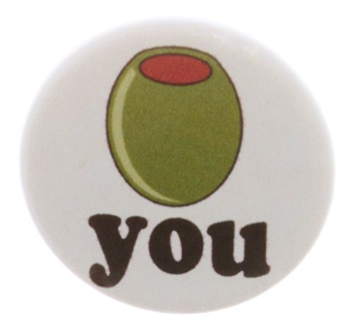 Button Love Pinback (A&T Designs Unisex - Olive You 1.25
