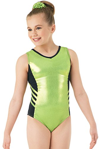 Balera Metallic Leotard With Side Stripes Lime Chartreuse Child Medium