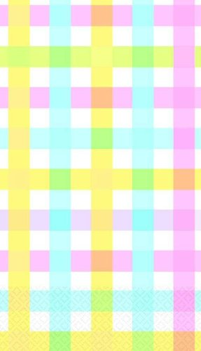 """Colorful Gingham Stripes Paper Table Cover - 54""""x102"""""""