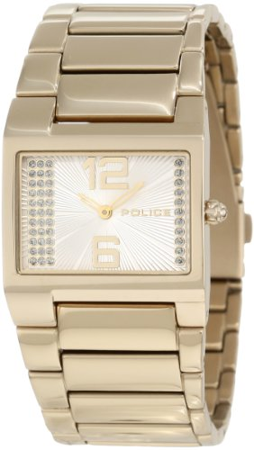 Police Women's PL-12695LSG/04M Vanity White Dial Gold Plated Band Watch