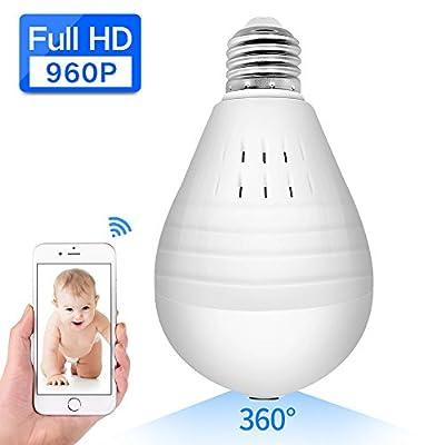 ABAI 360 Degree Fisheye Lens Panoramic VR Bulb LED Light Camera Hidden Wifi Wireless IP Camera For Home Security System Android IOS APP White from Shen Zhen Shi Jing Shi Da Dian Zi Ke Ji You Xian Gong Si