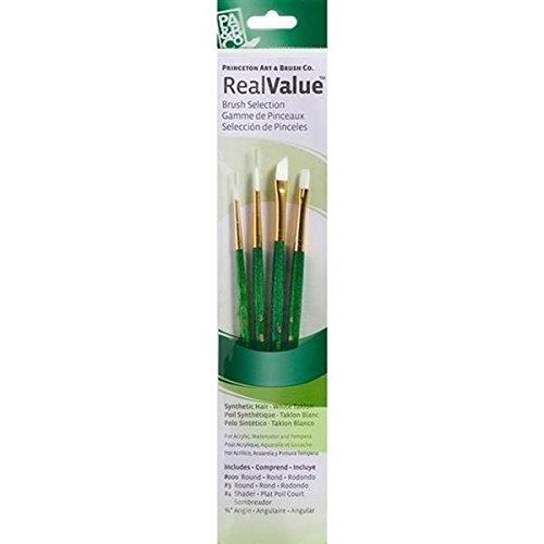(Princeton Art & Brush Real Value Brush Set, Round Size 3/0 and 3, Shader Size 4, Angle Size 1/4, White Taklon)