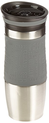 Grip Tumbler (ExcelSteel Double Walled Stainless Steel Coffee Tumbler with Silicone Grip, Gray)