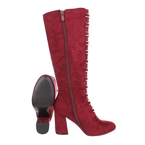 44b3767907b43d Ital-Design High Heel Stiefel Damenschuhe High Heel Stiefel Pump Moderne  Reißverschluss Stiefel Weinrot ...