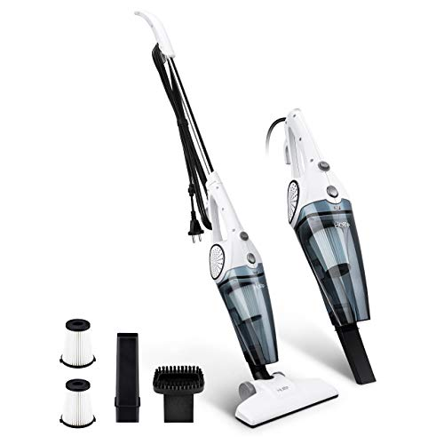 HoLife Lightweight Stick Vacuum Cleaner 2-in-1 Handheld Vacuum Corded Bagless with 12Kpa Strong Suction Includes 2 HEPA Filters, Crevice Tool and Brush - Ideal for Hardwood Floors & Carpet, Pet Hair