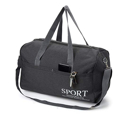 (Sport Duffle Bag Carry On Weekend | Overnight Gym Travel | Zippered Lined Shoulder Strap Comfortable | Small Medium Large Black Grey Heather Fabric)