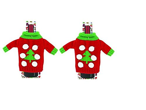 (2) Christmas Wine Bottle Accessory UGLY SWEATER KNITTED BOTTLE Sweaters ~ Tree Design~ Wine Lovers ~ Bottle Wrap Dress your Wine in Holiday Cheer ~ Party Favors Prize Giveaway ~ Stocking Stuffer (Holiday Cheer Stocking)