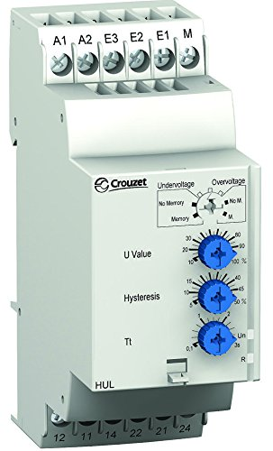 Screw 5 A DPDT 250 VAC Huh Series DIN Rail CROUZET CONTROL 84872130 Voltage Monitoring Relay