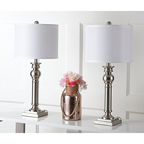 Sconce Pacific Traditional (Safavieh Lighting Collection Argos Column Nickel 28.25-inch Table Lamp (Set of 2))