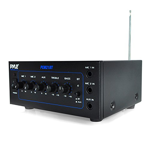 Pyle PCM21BT 70v Mini Bluetooth Power Amplifier with Two Microphone Inputs and Built in Equalizer - 40w by Pyle
