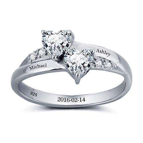 Lam Hub Fong Personalized Name Rings 2 Simulate Birthstones Rings Silver Women Couple Promise Engagement Rings Band (10.5) by Lam Hub Fong