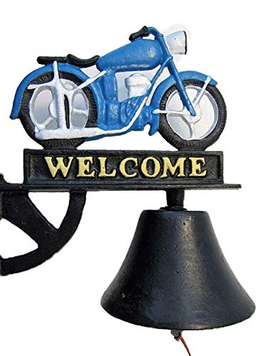 - Antique-Style Cast Iron Painted Motorcycle Motif Welcome Dinner Bell Windchime Wind Chime Farm