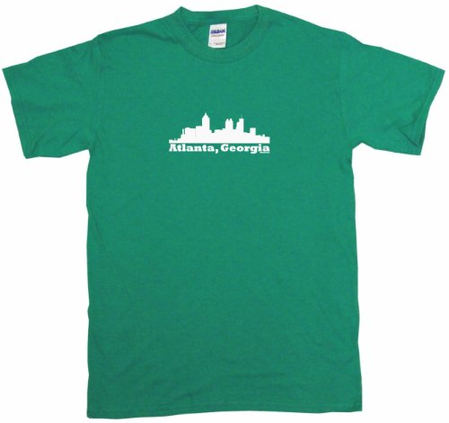 Atlanta Georgia City Skyline Silhouette Women's Tee Shirt XXL-Kelly Green-Regular