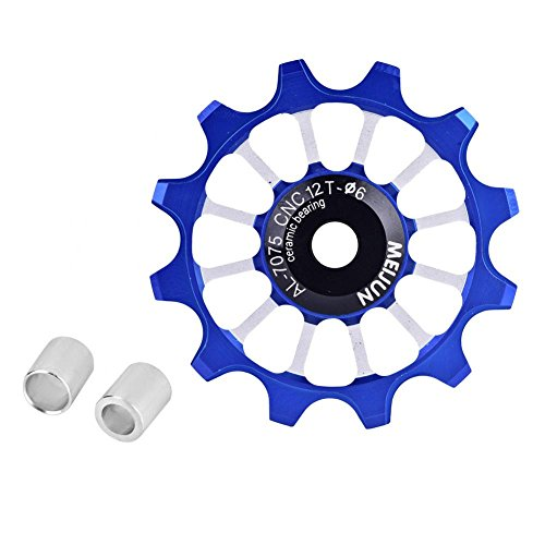 Dilwe Guide Wheel, Quality Aluminum Alloy Ceramic Bearing Jockey Wheel Pulley Road Bike Bicycle Rear Derailleur(Blue)