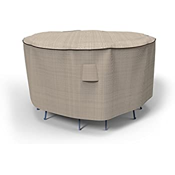 Budge English Garden Patio Bar Table And Chairs Cover, Tan Tweed (80  Diameter X Part 62