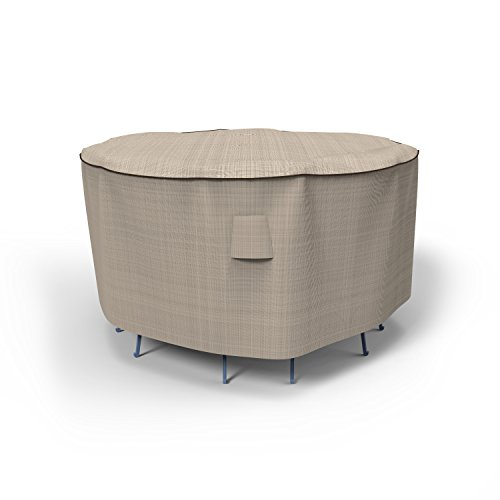 Budge English Garden Patio Bar Table and Chairs Cover, Tan Tweed (80 Diameter x 42 Drop)