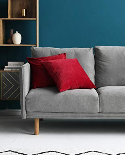 Mixhug Velvet Decorative Throw Pillow Covers for Couch and Bed, Red, 18 x 18 Inches, Set of 2 by Mixhug