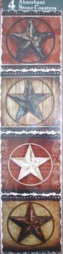 Primitive Barn Stars Absorbent Tumbled Stone Coasters Set