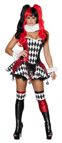 Roma Costume 3 Piece Court Jester Cutie Costume, Black/Red, Large - Jester Costume For Woman