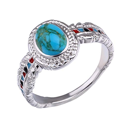 (Fxbar Creative Enamel Ring Women Chic Feather Opal Promise Rings For Couples Romantic Turquoise Wedding Jewelry (Silver,7))