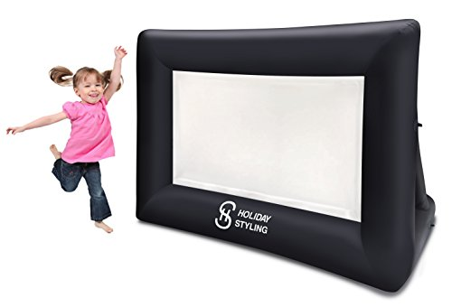e Screen - Portable Indoor Outdoor Projector Screen (9ft Diagonal) Package with Rope, Blower + Tent Stakes by Holiday Styling ()