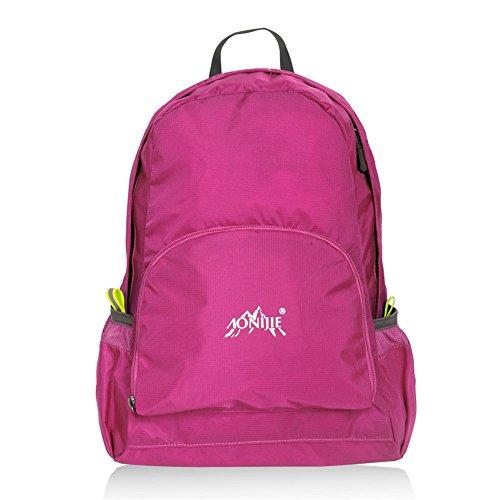 AONIJIE Wasserdichter Leichte Faltbare Rucksack Taschen 25 L für Reise Alpen Sport Camping Wandern Schule Rucksäck (Armee Grün) Rose Rot