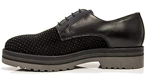 Mujer Giardini De Negro Cordones Nero Zapatos Cuero Para aYg16q6w