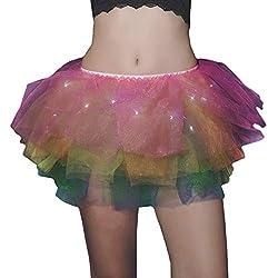 Mini Tutu Skirt Rainbow Color with Led Light