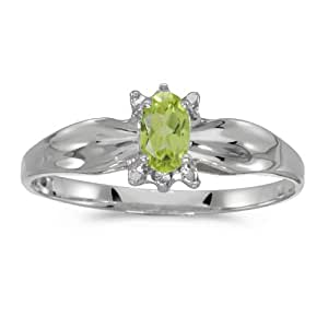 0.19 Carat (ctw) 14k White Gold Oval Green Peridot and Diamond Solitaire Engagement Fashion Ring (5 x 3 MM) - Size 4