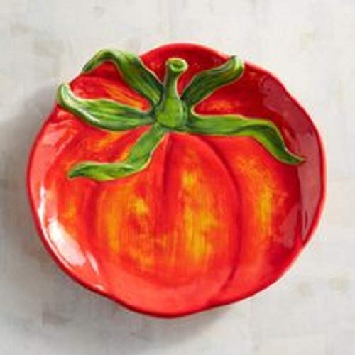 - New Pier 1 Garden Tomato Large Appetizer Snack Plate Spoon Rest Stoneware Hand Painted