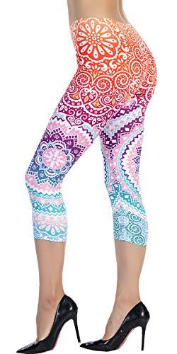 Ndoobiy Capri Cropped Leggings Basic Printed Patterned Women Girls Leggings Yoga Pants C2-Hongquan OS ()
