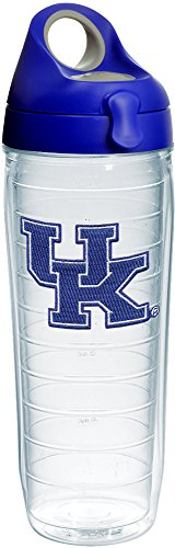 Tervis 1236083 Kentucky Wildcats Logo Insulated Tumbler with Emblem and Blue with Gray Lid, 24oz Water Bottle, Clear