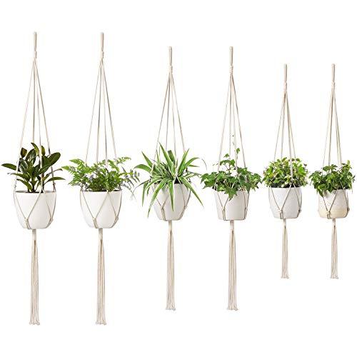 Dahey Handmade Macrame Plant Hangers- 6 Packs, 3 Sizes Hanging Planter Basket Cotton Rope Holder Indoor Outdoor Modern Boho Home Decor