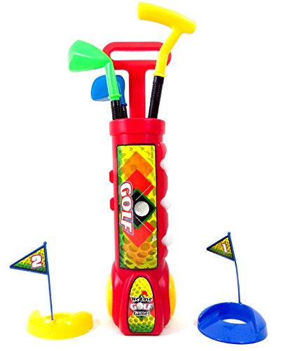 PowerTRC Deluxe Kid's Toy Golf Set w/ 3 Golf Balls, 3 Types of Clubs, 2 Practice Holes, Perfect Golf Set for Children (Red)