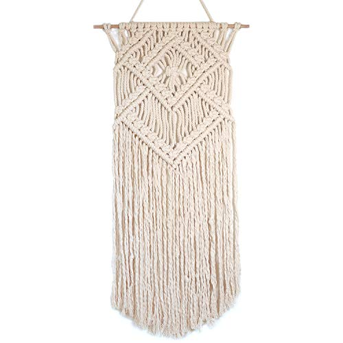 "Barnyard Designs Macrame Wall Hanging Fringe Woven Wall Tapestry Boho Chic Bohemian Decor, Diamond Weave 31"" x 16"" (1, Diamond Weave)"