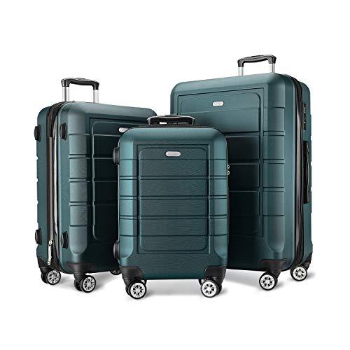 Showkoo Expandable Suitcase Set Double Wheels TSA Lock (Army Green)