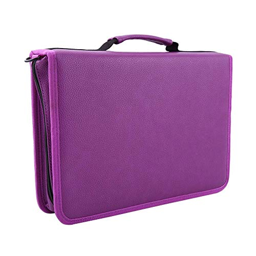 Price comparison product image Yosoo 160 Slots Zippered Pencil Case Large Capacity Pen Bag Pouch with Adjustable Shoulder Strap PU Leather Storage Organizer Multi-Layer Stationary Case for Colored Pencil Drawing Pen, Purple