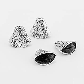 10 PCS Bead Caps End Cap Leather Cord Ends Jewelry making Super Size Tassels Necklace Pendant Connector Filigree Tibetan Antique Alloy Metal charms Spacer Vintage (Antique silver 25mm) 9969