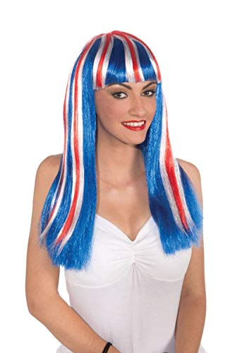 Forum Long Patriotic Wig, Red/White/Blue, One Size -
