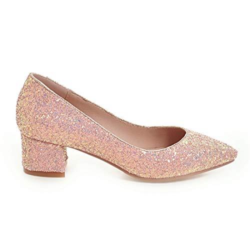 Tacco Decolte On Vitalo Retro Con Rosa A Slip Glitter Basso Eleganti Blocco Scarpe Donna U7x7B8
