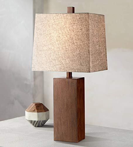 Darryl Modern Table Lamp Rectangular Block Wood Textured Tan Fabric Shade for Living Room Family Bedroom Bedside Office - 360 Lighting